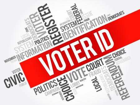 Illustration pour Voter ID word cloud collage , social concept background - image libre de droit