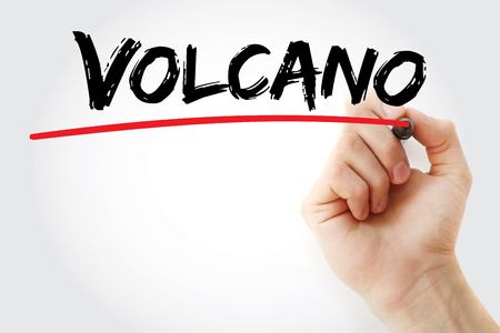Hand writing Volcano with marker, concept background