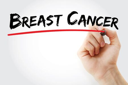 Hand writing Breast cancer with marker, health concept background