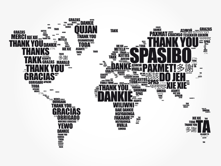 Illustration for Thank You in many languages World Map in Typography word cloud, multilingual for education or thanksgiving day - Royalty Free Image