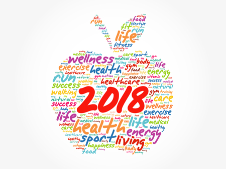 Photo for 2018 apple word cloud collage, health concept background - Royalty Free Image