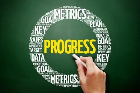 Progress word cloud collage, business concept on blackboard