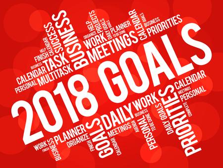 Illustration pour 2018 Goals word cloud business concept background - image libre de droit