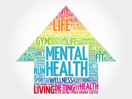 Mental health arrow word cloud, health concept