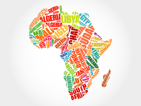 African countries Map in Typography word cloud concept, names of countries