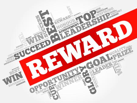 Reward word cloud, business concept