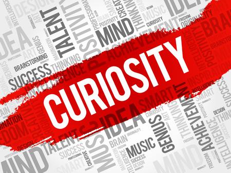 Illustration pour Curiosity word cloud collage, creative business concept background - image libre de droit