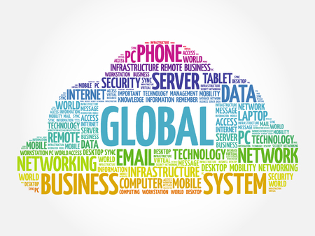 GLOBAL word cloud collage, technology concept background