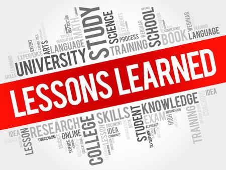Illustration pour Lessons Learned word cloud, education concept background - image libre de droit
