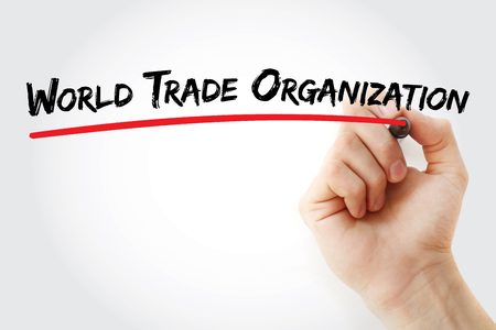 WTO -World Trade Organization acronym, business concept background