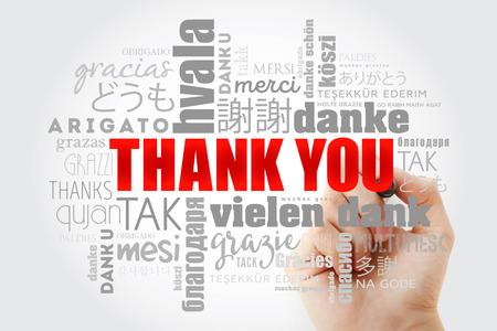 Foto für Thank You Word Cloud in all languages with marker, concept background - Lizenzfreies Bild