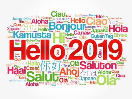 Illustration pour Hello 2019 word cloud in different languages of the world, background concept - image libre de droit