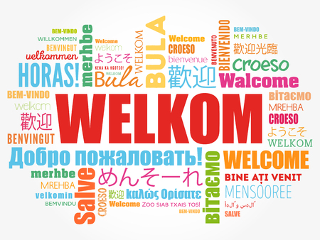 Welkom (Welcome in Afrikaans) word cloud in different languages ...
