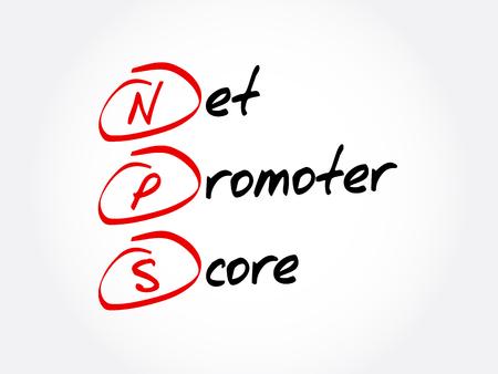 Ilustración de NPS - Net Promoter Score acronym, business concept background  - Imagen libre de derechos