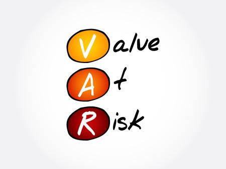 VaR - Value at Risk acronym, business concept background