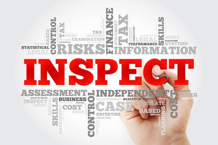 Photo pour INSPECT word cloud with marker, business concept background - image libre de droit