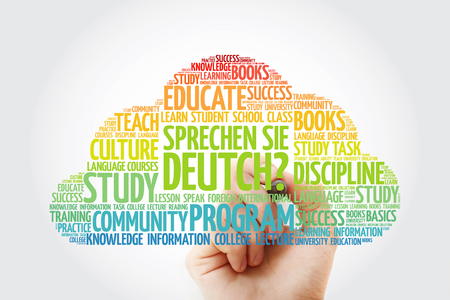 Foto de Sprechen Sie Deutch? (Do you speak German?) word cloud with marker, education business concept - Imagen libre de derechos