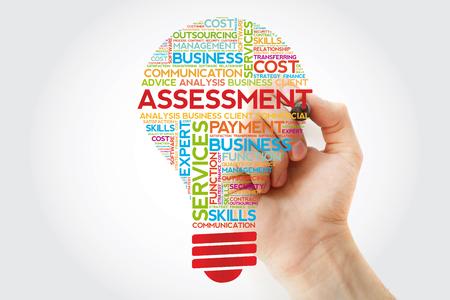 Foto de Assessment bulb word cloud with marker, business concept background - Imagen libre de derechos