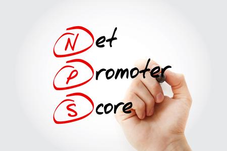 Foto de NPS - Net Promoter Score acronym with marker, business concept background - Imagen libre de derechos