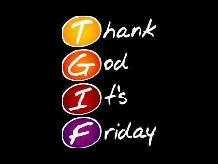 Illustration pour TGIF - Thank God It's Friday acronym, concept background - image libre de droit