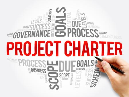 Foto de Project Charter word cloud collage, business terms such as method, process, leads concept background - Imagen libre de derechos