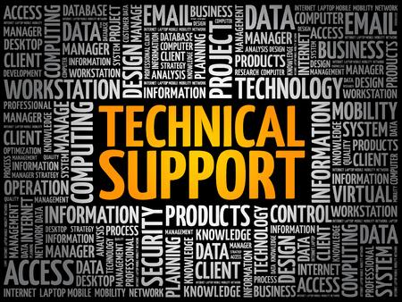 Illustration pour Technical support word cloud collage, technology concept background - image libre de droit