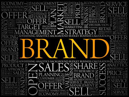 Illustration pour Brand word cloud collage, business concept background - image libre de droit