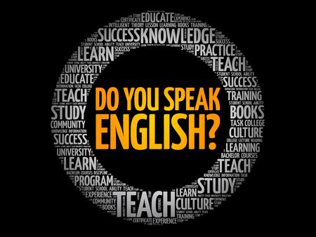 Illustration pour Do You Speak English? word cloud, education business concept - image libre de droit