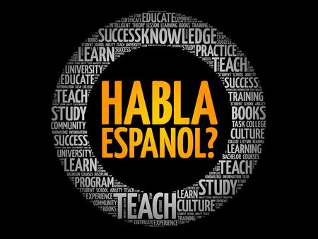Illustration pour Habla Espanol? (Speak Spanish?) word cloud, education business concept - image libre de droit