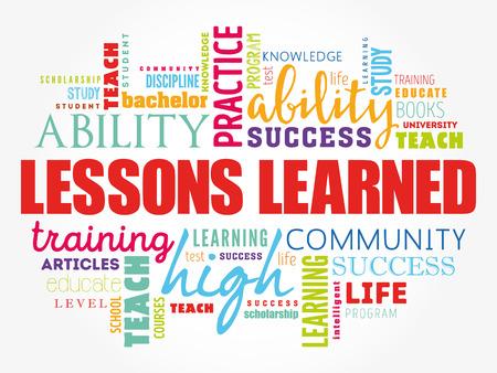 Illustration pour Lessons Learned word cloud collage, education concept background - image libre de droit