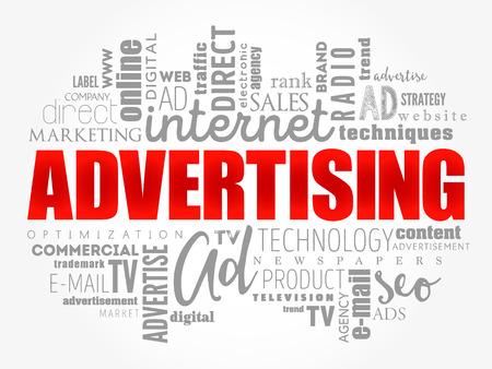 Illustration pour ADVERTISING word cloud, business concept background - image libre de droit