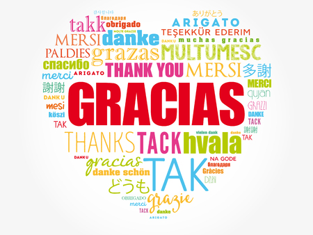 Illustration pour Gracias (Thank You in Spanish) love heart Word Cloud in different languages of the world - image libre de droit