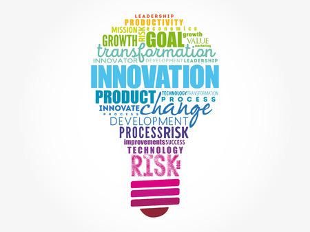 Illustration pour INNOVATION light bulb word cloud, business concept background - image libre de droit