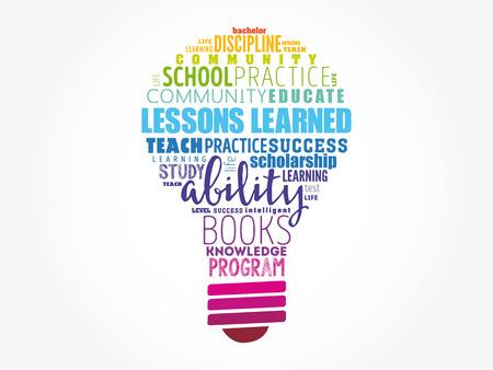 Illustration pour Lessons Learned bulb word cloud, education concept background - image libre de droit