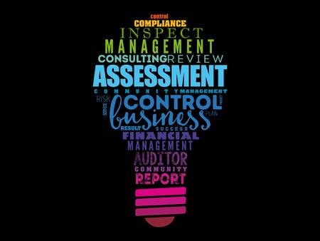 Illustration pour ASSESSMENT light bulb word cloud collage, business concept background - image libre de droit