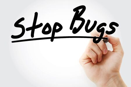 Photo pour Stop Bugs text with marker, health concept background - image libre de droit