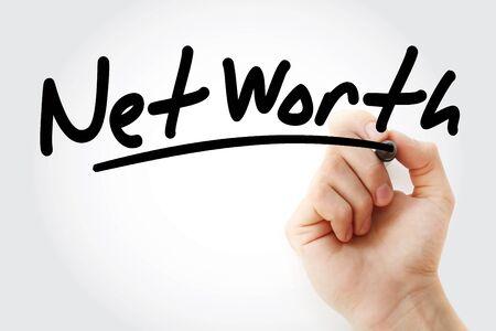 Foto de Net Worth text with marker, business concept - Imagen libre de derechos