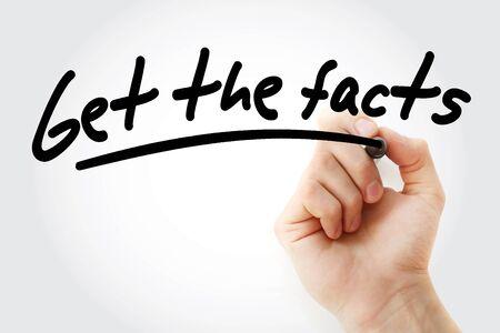 Photo pour Get the facts text with marker, business concept - image libre de droit