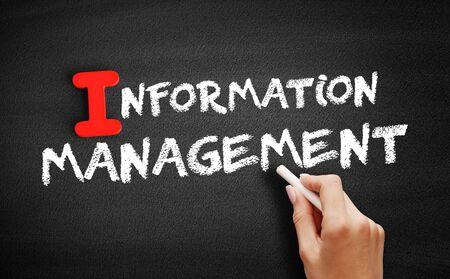 Information management text on blackboard, business concept background