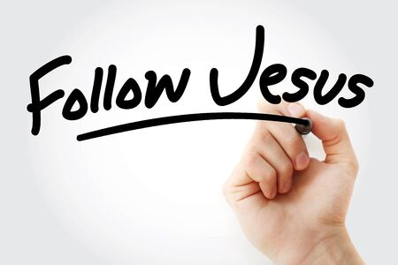 Photo pour Hand writing Follow Jesus with marker, concept background - image libre de droit