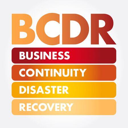 Illustration pour BCDR - Business Continuity Disaster Recovery acronym, business concept background - image libre de droit