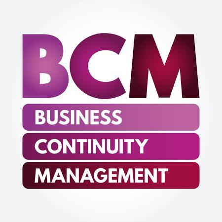 Illustration pour BCM - Business Continuity Management acronym, business concept - image libre de droit