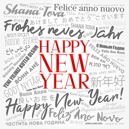 Illustration for 2020 Happy New Year in different languages, celebration word cloud greeting card - Royalty Free Image