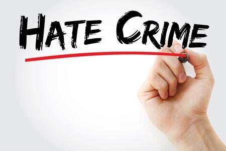Photo pour Hate Crime text with marker, concept background - image libre de droit