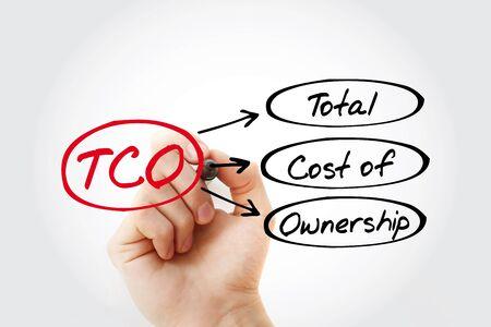 Photo pour TCO - Total Cost of Ownership acronym, business concept background - image libre de droit