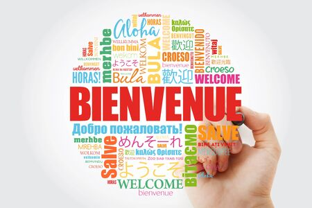 Bienvenue (Welcome in French) word cloud with marker in different languages, conceptual backgroundの素材 [FY310140067690]
