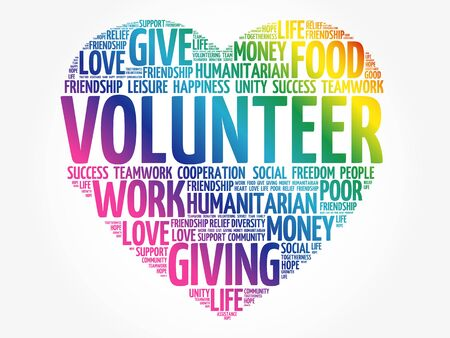 Illustration for Volunteer word cloud collage, social concept background - Royalty Free Image
