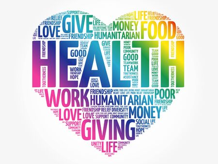 Illustration for HEALTH heart word cloud collage, concept background - Royalty Free Image