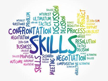 Illustration pour SKILLS business concept word cloud, presentation background - image libre de droit