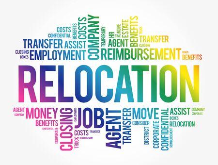 Illustration pour Relocation word cloud collage, business concept background - image libre de droit